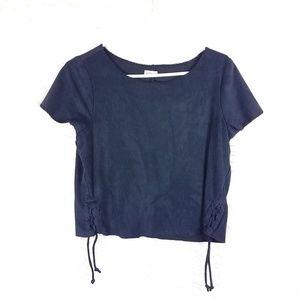 Hollister vegan suede leather festival blouse blac